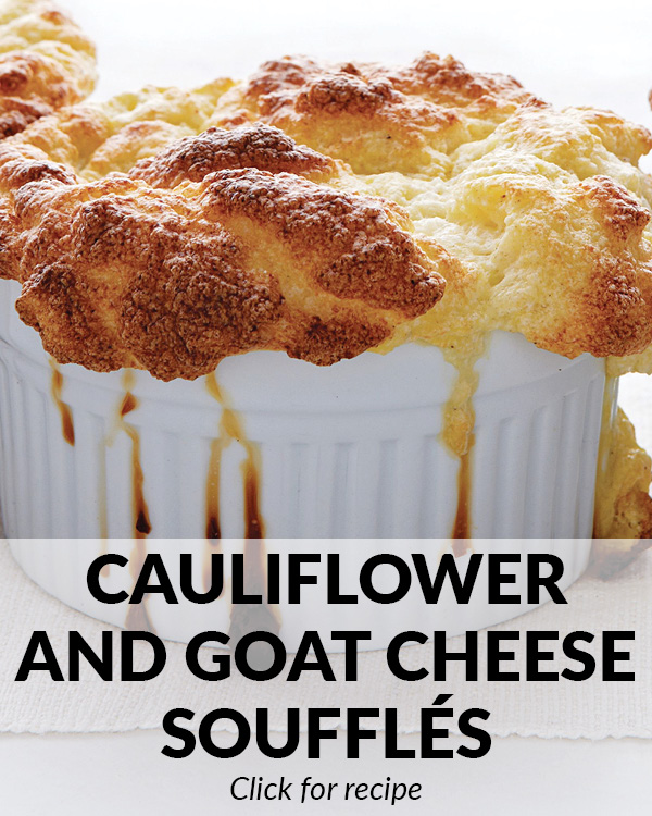 Cauliflower and Goat Cheese Souffles