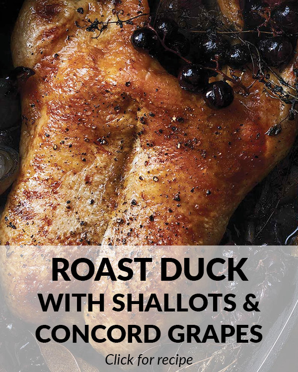 Roast Duck with Shallots and Concord Grapes